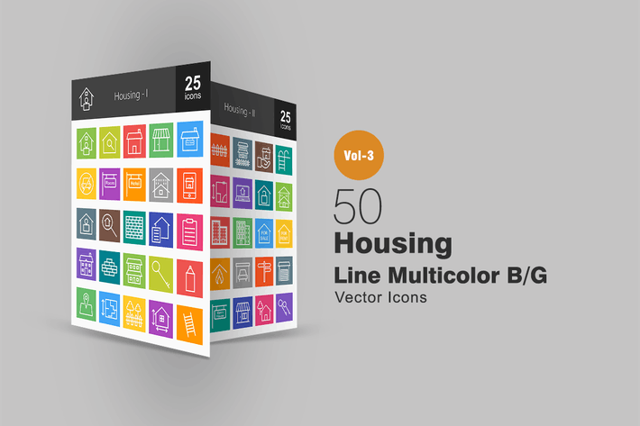 Thumbnail for 50 Housing Line Multicolor Icons