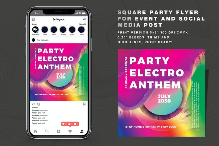 Thumbnail for Abstract Party Vol 06 Flyer And Social Media Post