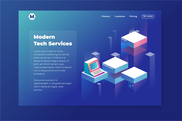 Thumbnail for Tech Theme isometric landing page for company webs