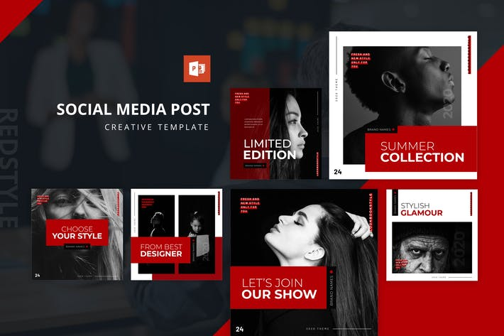 Thumbnail for Redstyle Instagram Feed Powerpoint Template