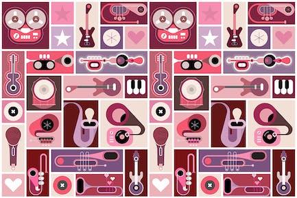 Music Instruments Pop Art vector illustration