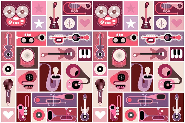 Thumbnail for Music Instruments Pop Art vector illustration