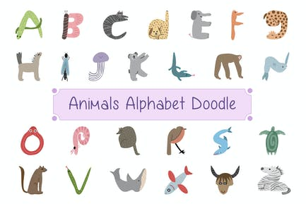 Animals Alphabet Doodle