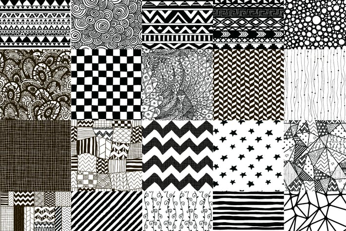 Thumbnail for 50 Black Hand-Drawn Seamless Patterns