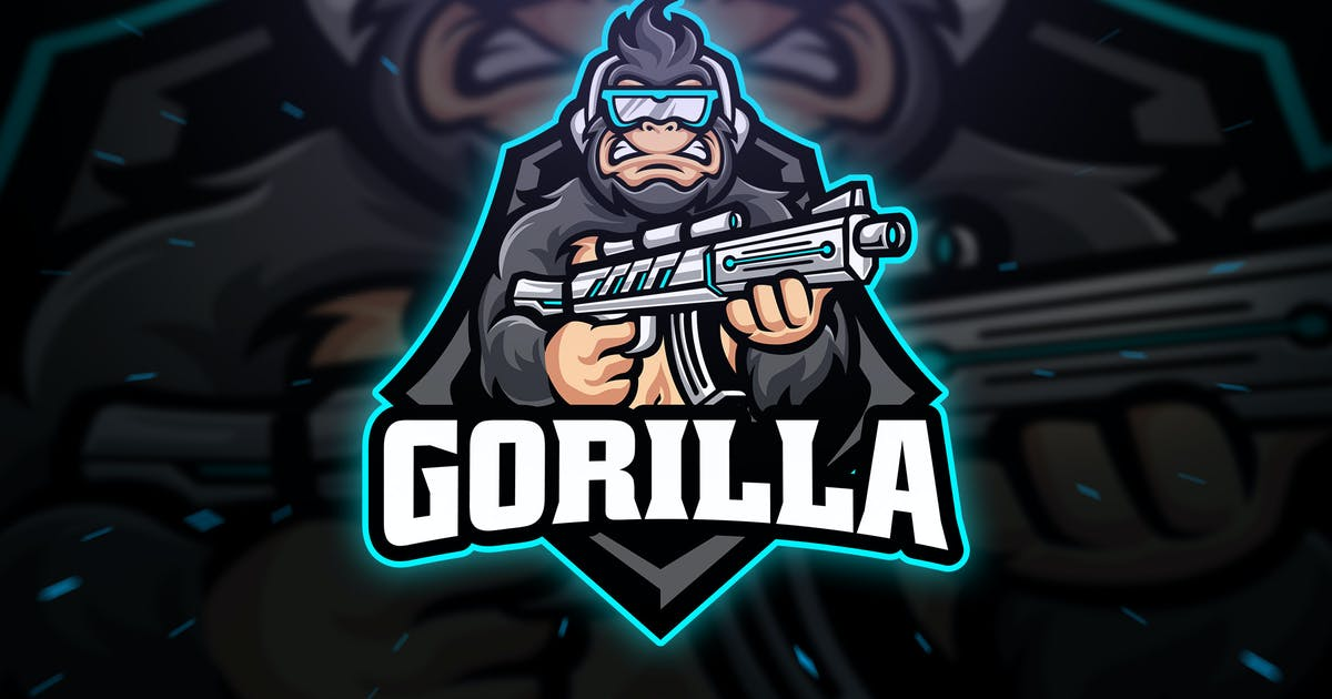 Download Gorilla Sniper Sport and Esport Logo Template by Blankids