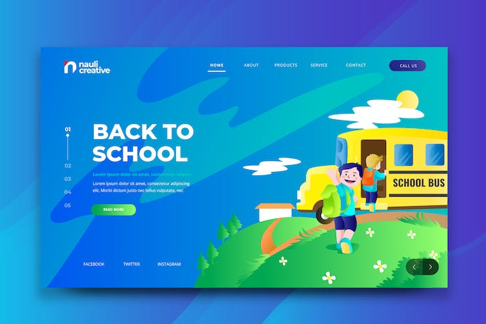 Thumbnail for Back To School Web PSD and AI Vector Template