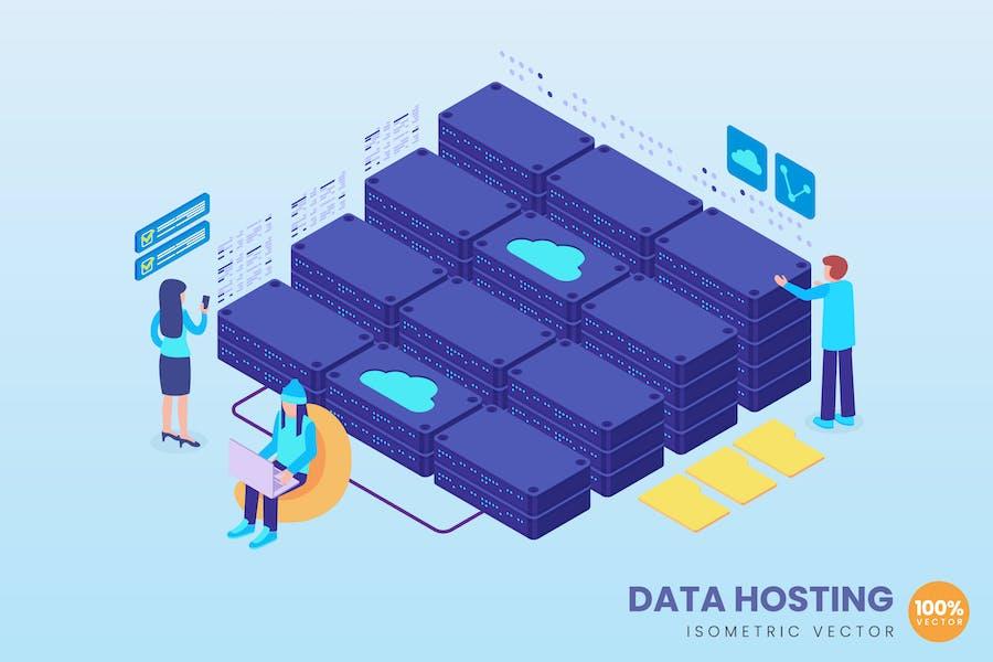 Isometric Data Hosting Concept