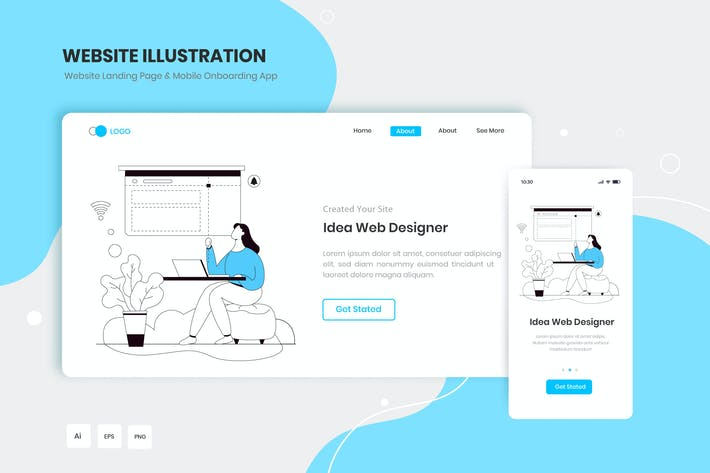 Idea Web Designer Landing Page & Onboarding App
