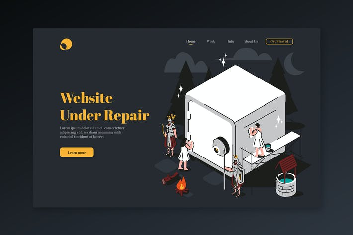 Website wird repariert - Isometrische Zielseite