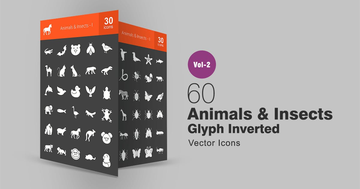 Download 60 Animals & Insects Glyph Inverted Icons by IconBunny