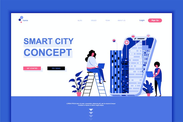 Thumbnail for Smart City Flat Landing Page Template