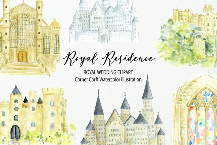Thumbnail for Watercolor Royal Residence Illustration