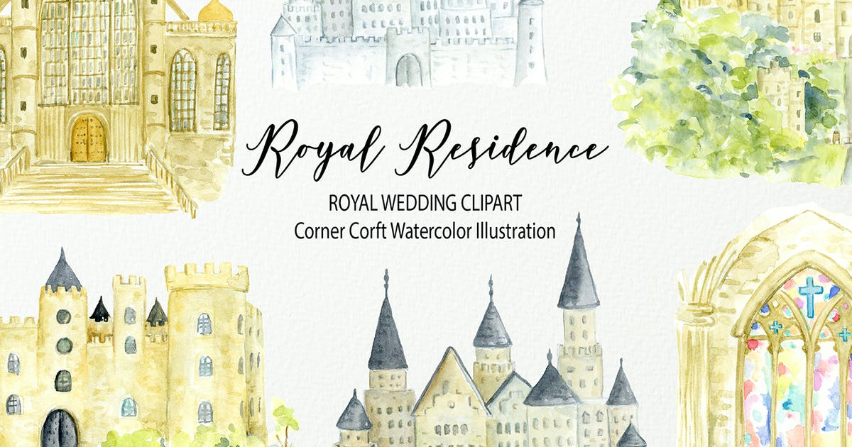 Download Watercolor Royal Residence Illustration by cornercroft
