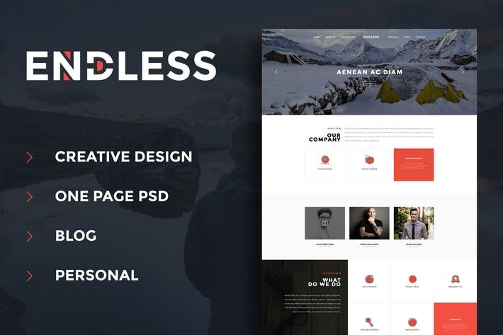 Thumbnail for Endless - One Page Personal Blog PSD