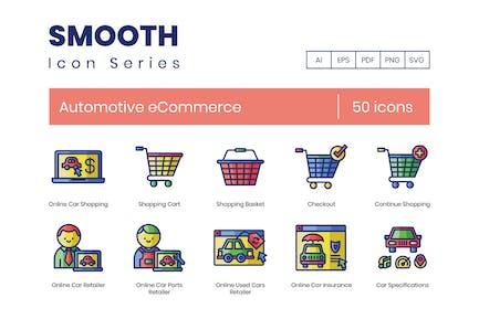 50 E-Commerce-Symbole für den Automobilbereich - Smooth Series