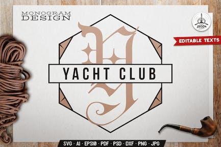 Yacht Club Monogram Template With Geometric Shape