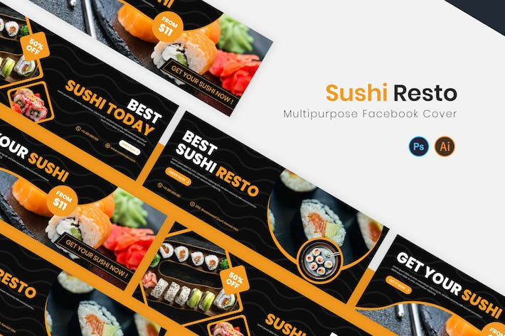 Thumbnail for Sushi Resto Facebook Cover