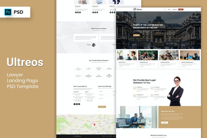 Cover Image For Lawyer - Landing Page PSD Template