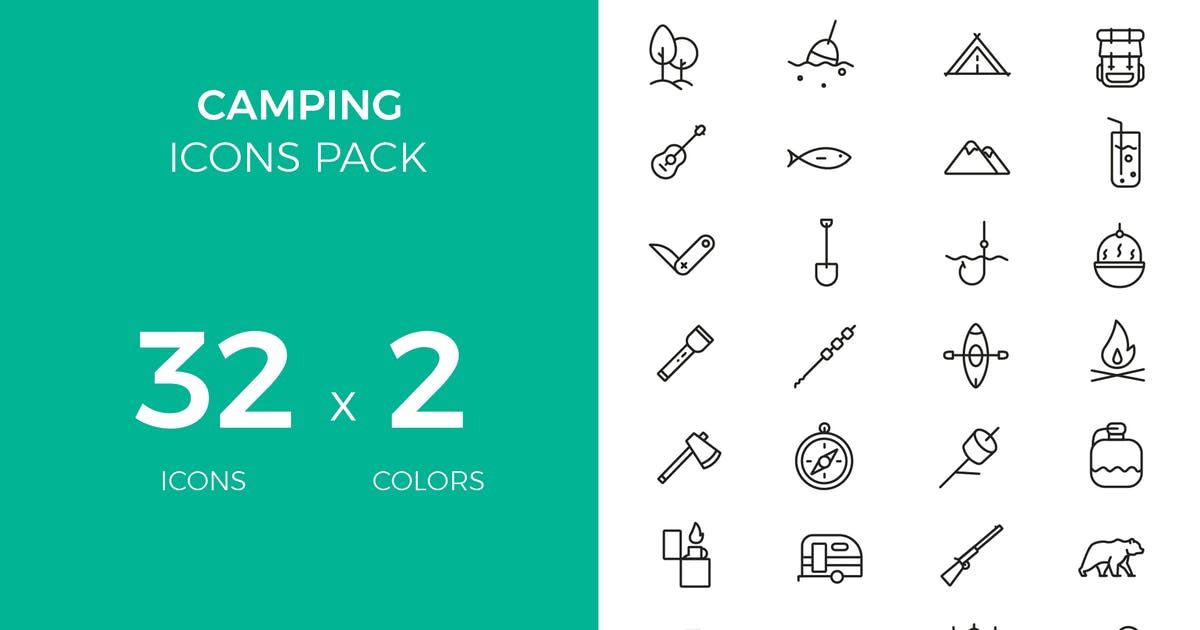 Camping icons pack by fruitfulcode
