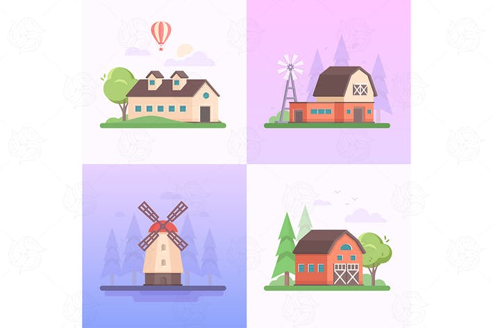 Thumbnail for Country landscape - set of flat illustrations