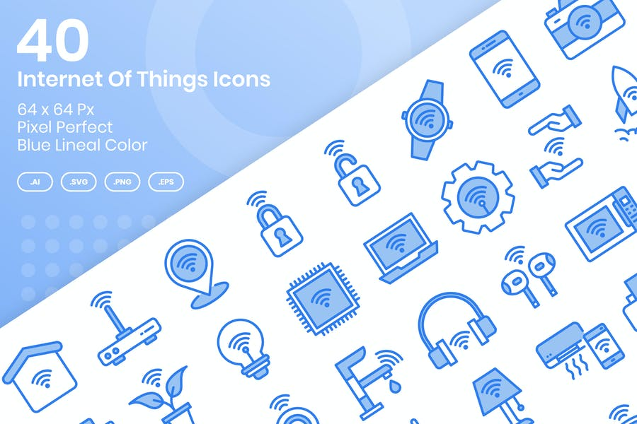 40 Internet Of Things Icons - Blue Lineal Color