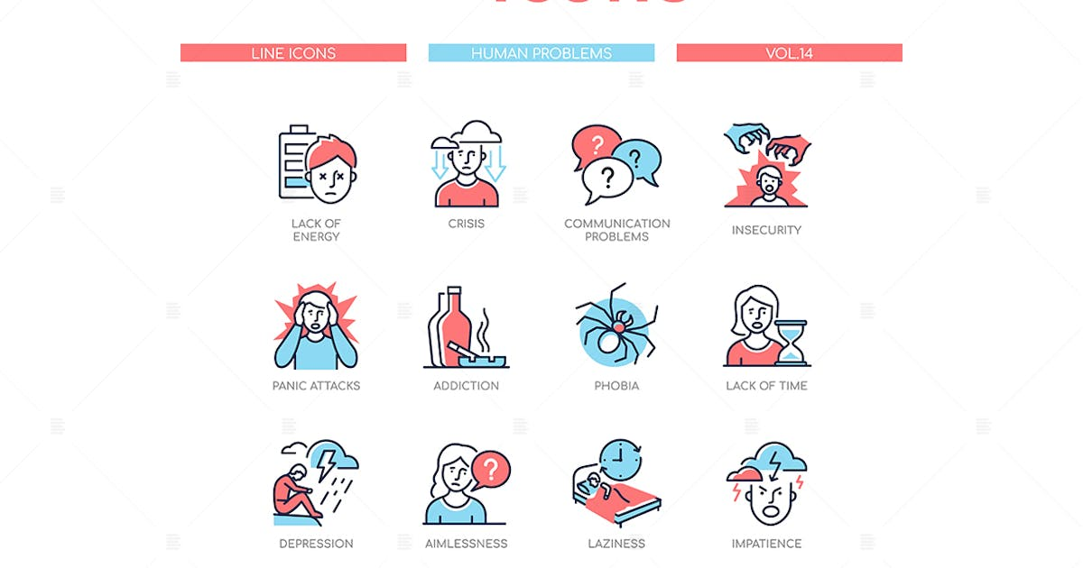 Download Human psychological problems - line design icons by BoykoPictures