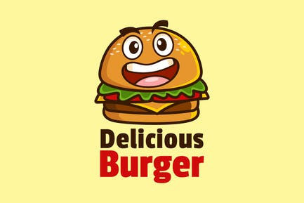 Smile Cartoon Mascot Burger Logo Design