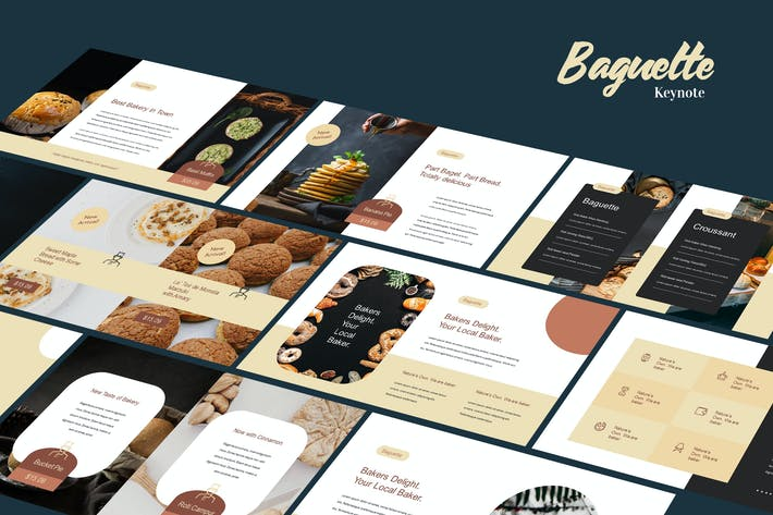 Thumbnail for Baguette - Food Business Keynote Template