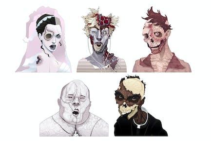 Zombie-Porträts