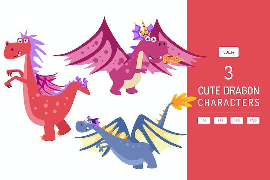 Cute Dragon Characters Vol.14