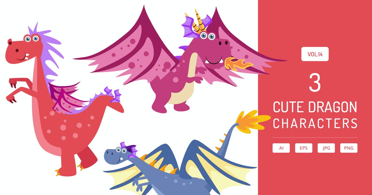 Download Cute Dragon Characters Vol.14 by Graphiqa