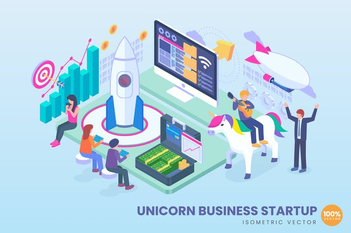 Thumbnail for Isometric Unicorn Business Startup Concept