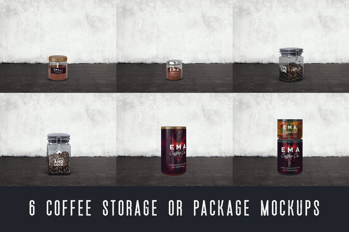 Thumbnail for 6 Coffee Storage Cans Mockups