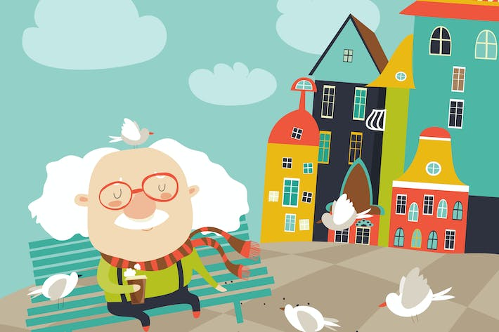 Old man feeding pigeons. Vector flat illustration