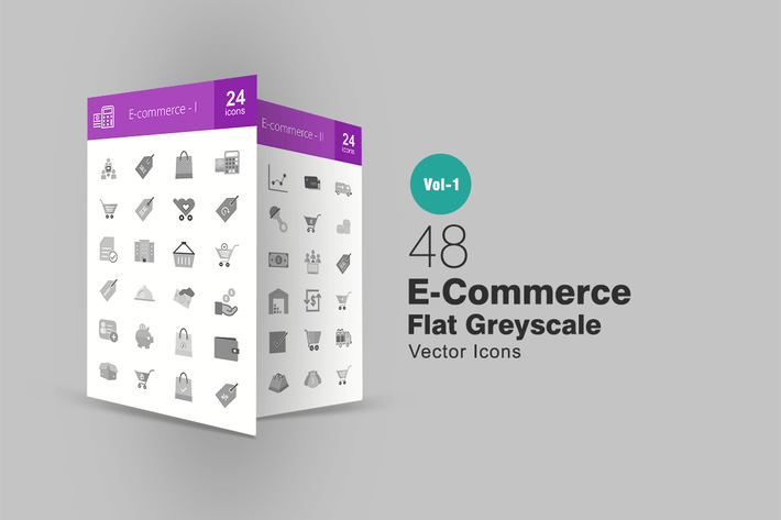 Thumbnail for 48 Ecommerce Greyscale Icons