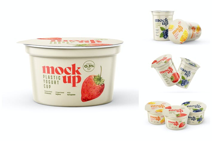 Thumbnail for Joghurt-Cup-Mockup-Set | Verpackungsdesign