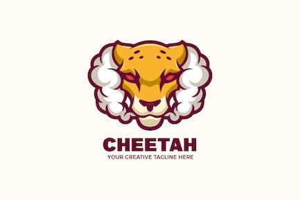 Smoking Cheetah Mascot Character Logo Template