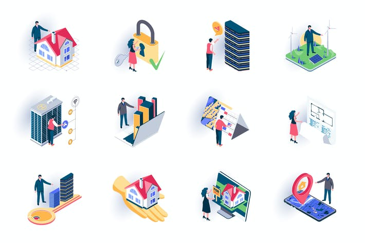 Thumbnail for Real Estate Isometric Icons Pack