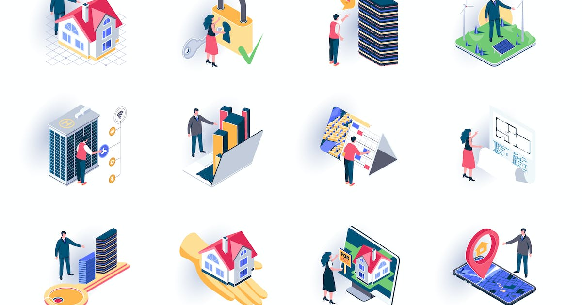 Download Real Estate Isometric Icons Pack by alexdndz