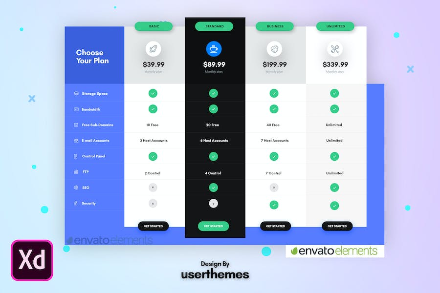 Business Pricing Table UX Adobe XD Template