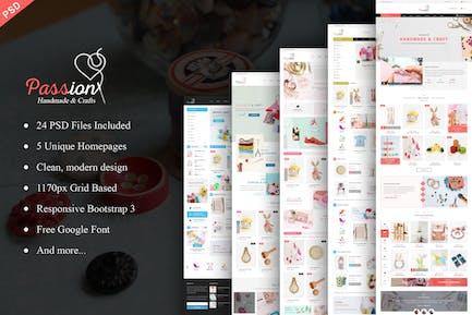 Leidenschaft - Handmade & Craft eCommerce PSD Vorlage