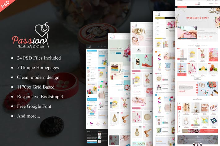 Thumbnail for Passion - Handmade & Craft eCommerce PSD Template