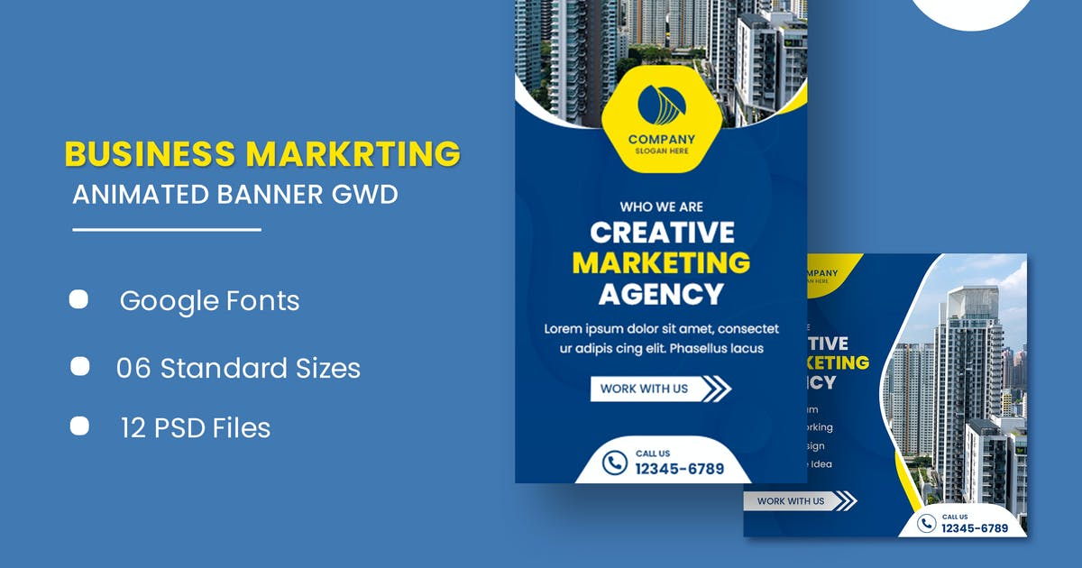 Download Marketing Agency Animated Banner Google Web Design by IsLein