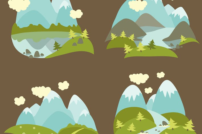 Thumbnail for Set of vector flat style mountain landscape