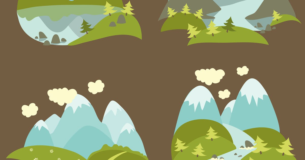 Download Set of vector flat style mountain landscape by masastarus
