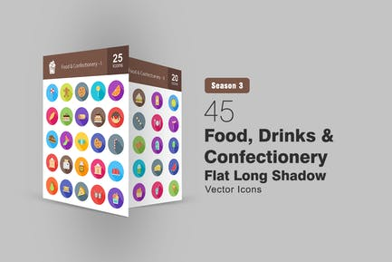 45 Food, Drink & Confectionery Flat Shadowed Icons
