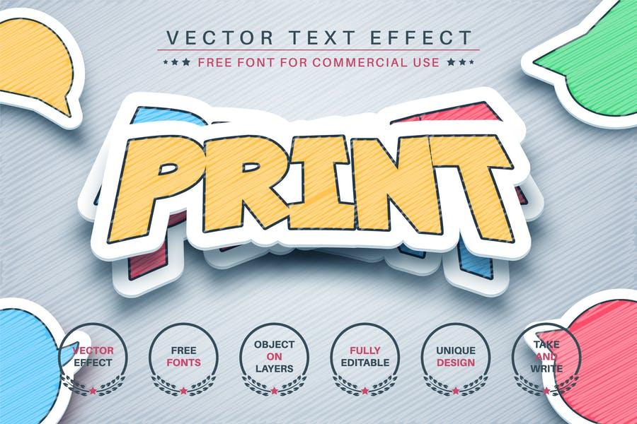 Sticker with shadow - editable text effect