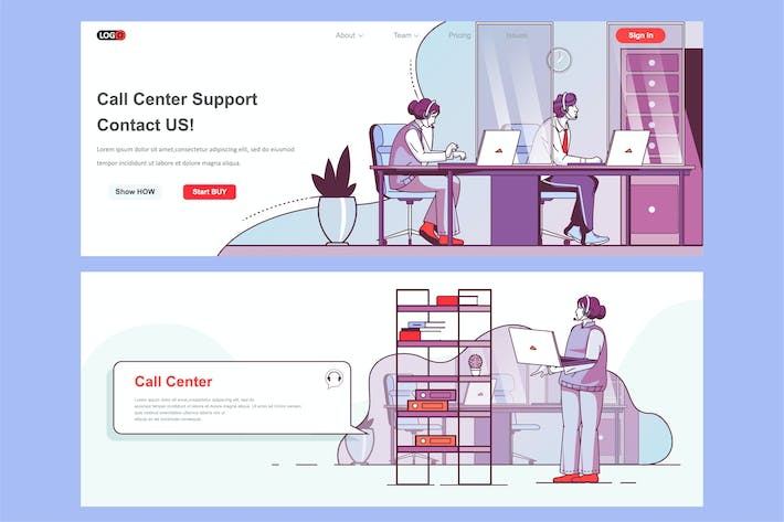 Thumbnail for Call Center Header Footer or Middle Content
