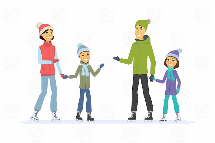 Thumbnail for Family skating - vector illustration