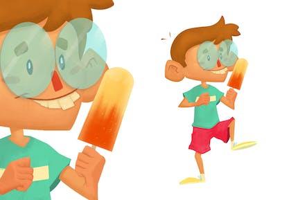 Nerd Boy Eating Ice Cream Character Illustration
